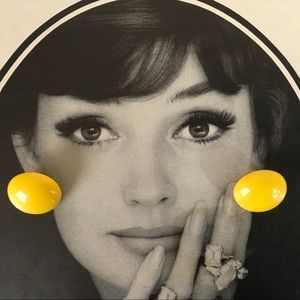 Lucite Mod Yellow Circle Pierced Earrings Vintage